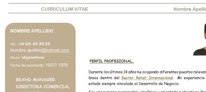 CV-datos personales en el lateral del CV