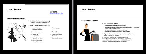 hacer Curriculum elegante Personal Shopper