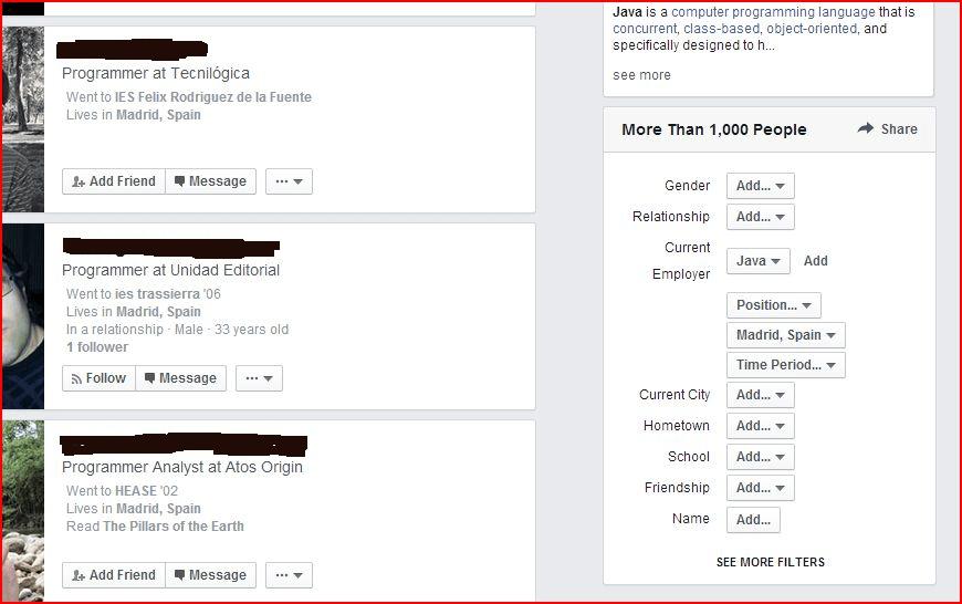 Buscar trabajo con Facebook y en Facebook- Graph