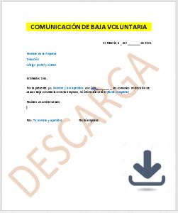 Carta de baja voluntaria modelo