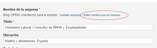 Editar nombre empresa en Linkedin