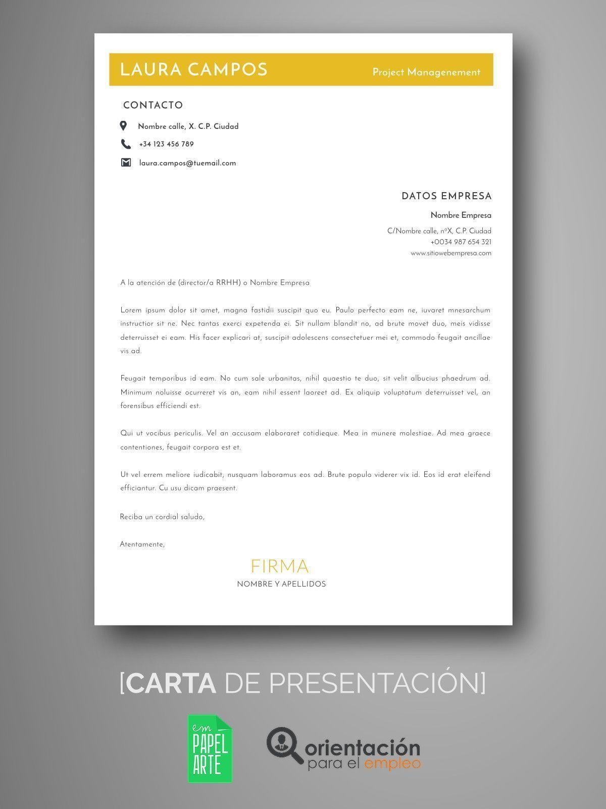 Único Plantilla Para Carta De Presentación Del Currículum Colección ...
