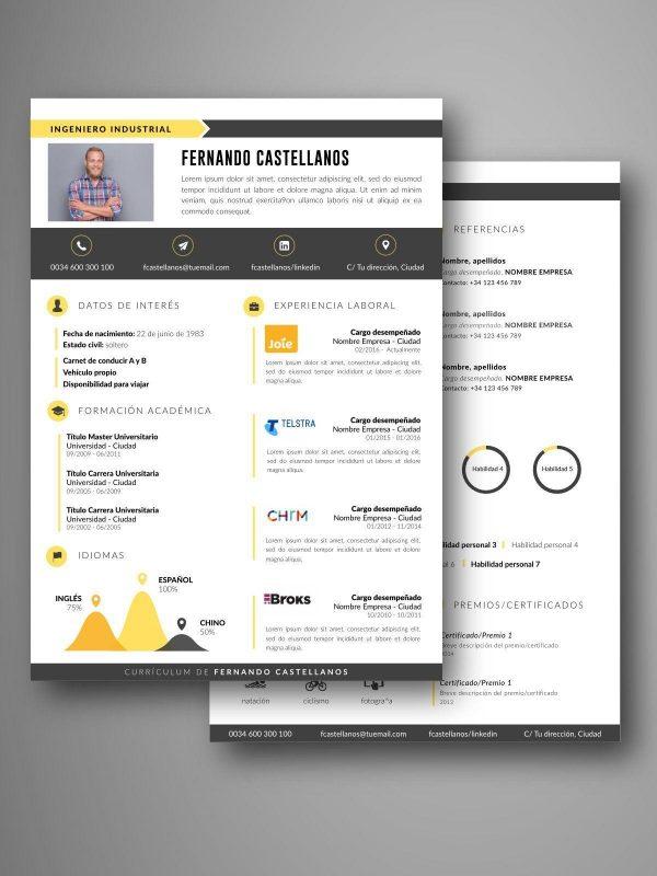 mejores plantillas curriculum dos pagina word editable word español