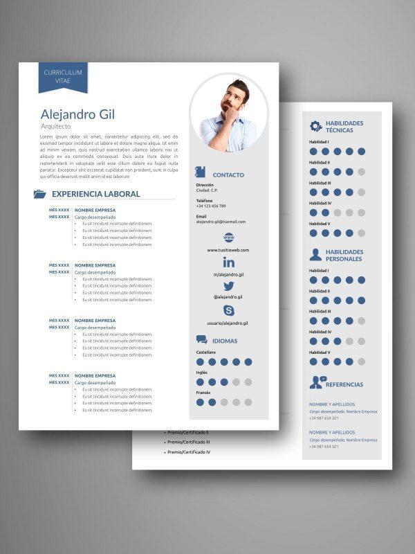 mejores plantillas curriculum dos pagina word editable español